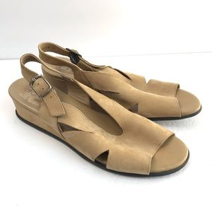 ARCHE Made in France Slingback Wedge Sandals Tan
